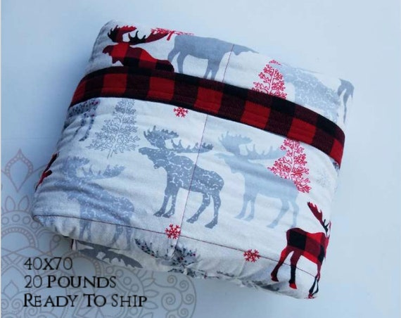 READY to SHIP, Weighted Blanket, 40x70-20 Pounds, Moose Cotton Flannel, Red Buffalo Check Flannel Back, Sensory Blanket, Calming Blanket,