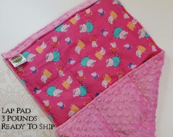 READY TO SHIP, Pig, Pink Minky, Weighted, Lap Pad/Travel Weighted Blanket, 3 pounds, 14x22, Small Weighted Blanket
