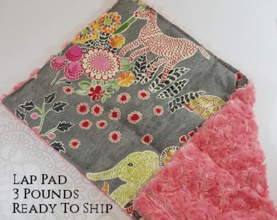 READY TO SHIP,  Fun Animal, Pink Rosette Minky, Weighted, Lap Pad/Travel Weighted Blanket, 3 pounds, 14x22, Small Weighted Blanket