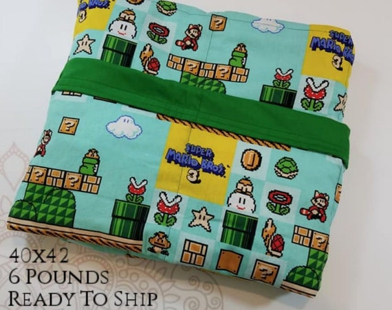 READY to SHIP, Weighted Blanket, 40x42-6 Pounds, Video Game, Green Woven Cotton Back, Sensory Blanket, Calming Blanket,