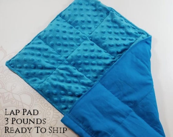 READY TO SHIP,  Turquoise Cotton Front, Turquoise Minky Back, Weighted, Lap Pad/Weighted Blanket, 3 pounds, 14x22, Small Weighted Blanket