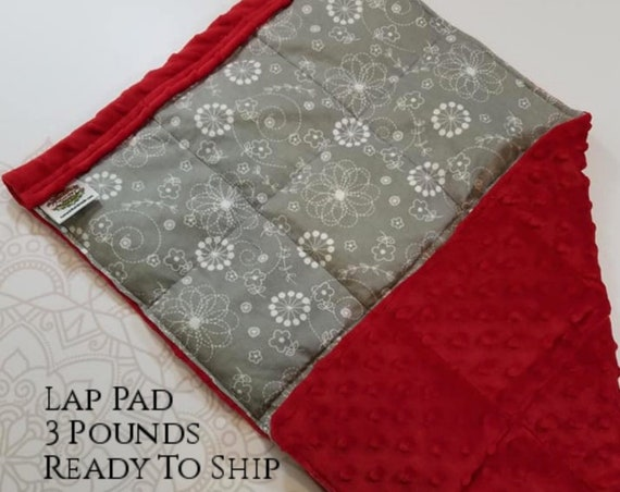 READY TO SHIP, Gray White Flowers Cotton Flannel Front, Red Minky Back, Lap Pad/Weighted Blanket, 3 pounds, 14x22, Small Weighted Blanket