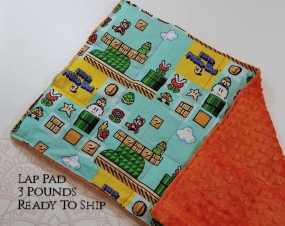 READY TO SHIP, Video Game Woven Cotton, Orange Minky Back, Weighted, Lap Pad/Weighted Blanket, 3 pounds, 14x22, Small Weighted Blanket