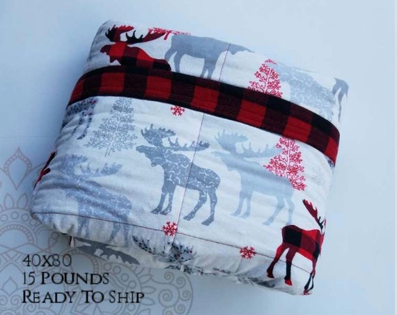 READY to SHIP, Weighted Blanket, 40x80-15 Pounds, Moose Cotton Flannel, Red Buffalo Check Flannel Back, Sensory Blanket, Calming Blanket,