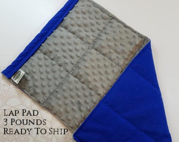 READY TO SHIP, Gray Minky Front, Royal Blue Flannel Back, Lap Pad/Weighted Blanket, 3 pounds, 14x22, Small Weighted Blanket
