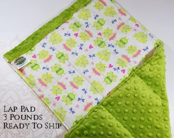 READY TO SHIP, Frog Flannel Front, Green Minky Back, Lap Pad/Weighted Blanket, 3 pounds, 14x22, Small Weighted Blanket