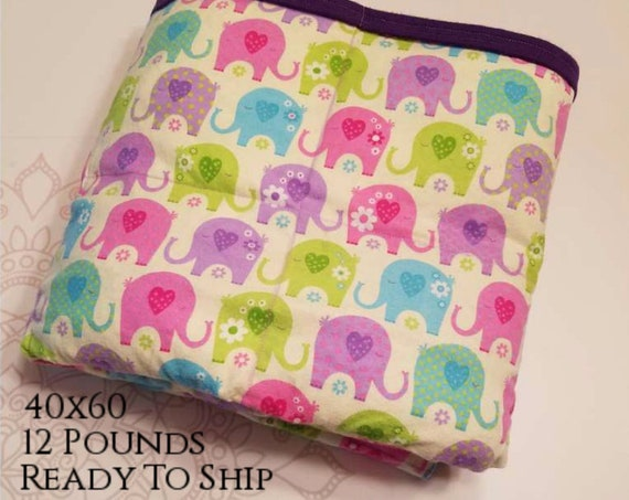 READY to SHIP, Weighted Blanket, 40x60-12 Pounds, Pastel Elephant Flannel Front, Purple Flannel Back, Sensory Blanket, Calming Blanket,
