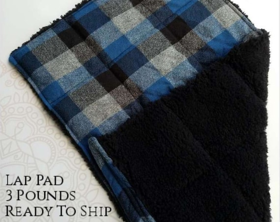 READY TO SHIP, Blue Check, Black Sherpa Minky, Weighted, Lap Pad/Travel Weighted Blanket, 3 pounds, 14.5x22, Small Weighted Blanket