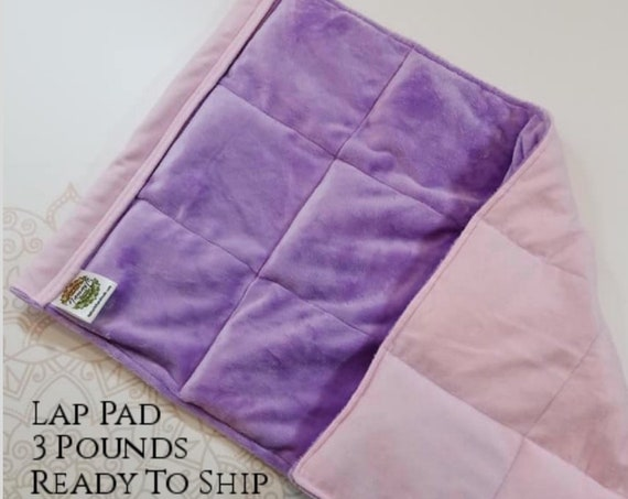 READY TO SHIP, Smooth Purple Minky, Pink Cotton Flannel Back, Weighted, Lap Pad/Weighted Blanket, 3 pounds, 14x22, Small Weighted Blanket
