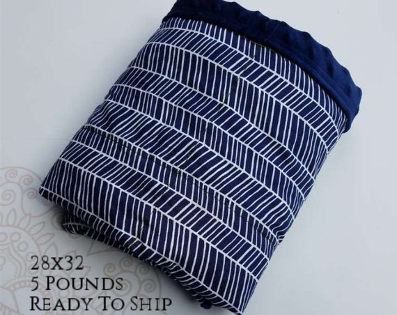 READY to SHIP, Weighted Blanket, 28x32-5 Pounds, Navy Chevron Woven Cotton Front, Navy Minky Back, Sensory Blanket, Calming Blanket,