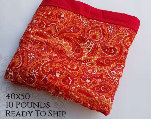 READY to SHIP, Weighted Blanket, 40x50-10 Pounds, Paisley Cotton Front, Red Woven Cotton Back, Sensory Blanket, Calming Blanket,