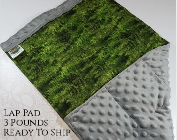 READY TO SHIP, Forest Front, Gray Minky Back, Lap Pad/Weighted Blanket, 3 pounds, 14x22, Small Weighted Blanket