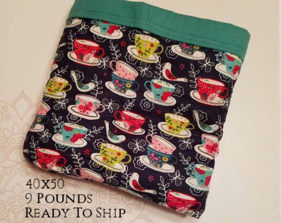 READY to SHIP, Weighted Blanket, 40x50-9 Pounds, Tea Cup Cotton Flannel Front, Teal Cotton Flannel Back, Sensory Blanket, Calming Blanket,