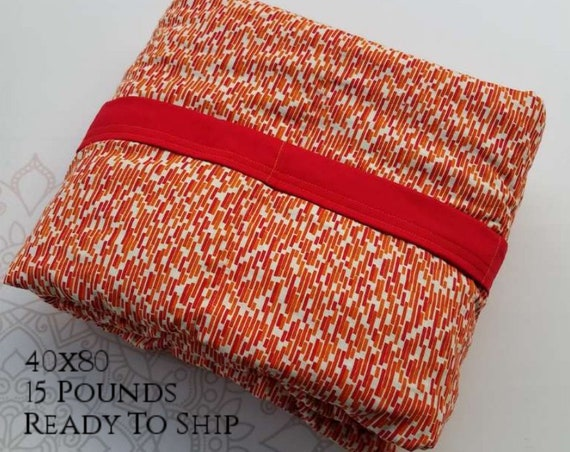 READY to SHIP, Weighted Blanket, 40x80-15 Pounds, Red Orange Subway Tile Cotton, Red Woven Cotton Back, Sensory Blanket, Calming Blanket,