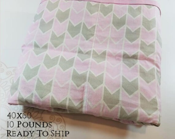 READY to SHIP, Weighted Blanket, 40x60-10 Pounds, Pink Gray Arrow Cotton Front, Pink Cotton Back, Sensory Blanket, Calming Blanket,