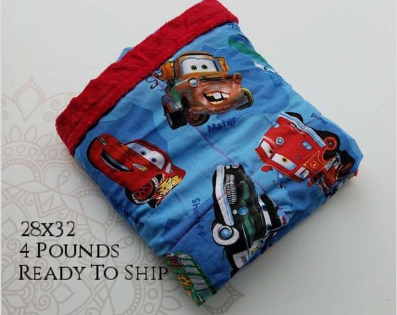 READY to SHIP, Weighted Blanket, 28x32-4 Pounds, Car Front, Red Minky Back, Sensory Blanket, Calming Blanket,