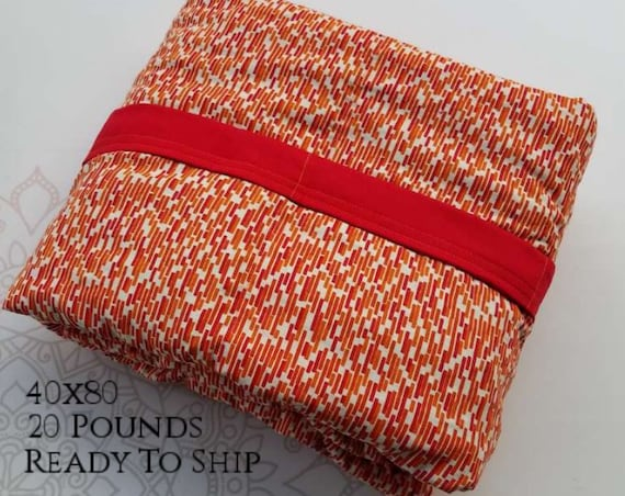READY to SHIP, Weighted Blanket, 40x80-20 Pounds, Red Orange Subway Tile Cotton, Red Woven Cotton Back, Sensory Blanket, Calming Blanket,