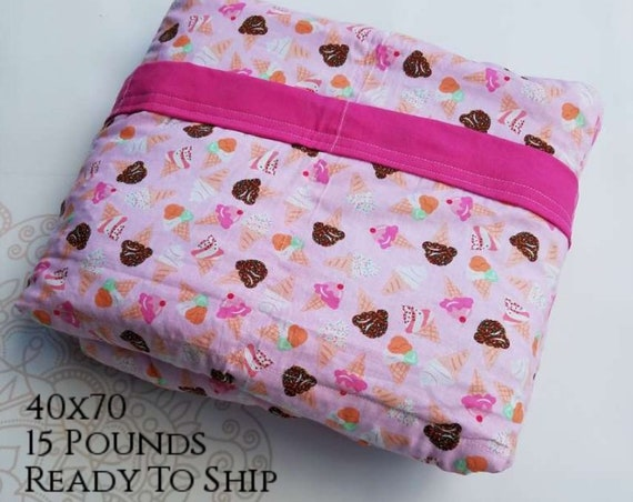READY to SHIP, Weighted Blanket, 40x70-15 Pounds, Ice Cream Woven Cotton, Sensory Blanket, Calming Blanket,