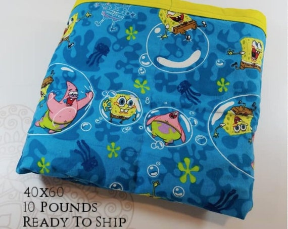 READY to SHIP, Weighted Blanket, 40x60-10 Pounds, Sponge Bob Front, Yellow Back, Sensory Blanket, Calming Blanket,