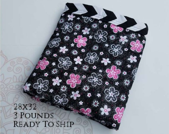READY to SHIP, Weighted Blanket, 28x32-3 Pounds, Black and Pink Flowers Front, Chevron Back, Sensory Blanket, Calming Blanket,