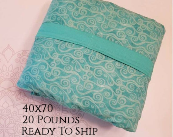 READY to SHIP, Weighted Blanket, 40x70-20 Pounds, Teal Swirl Cotton Flannel Front, Teal Woven Cotton Back, Sensory Blanket, Calming Blanket,