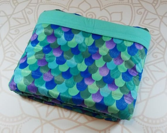 Ready To Ship, 40X42, 9 Pound, Mermaid Scales Minky, WEIGHTED BLANKET, Ready To Ship, 9 pounds, 40x42, for Autism, Sensory, ADHD, Calming