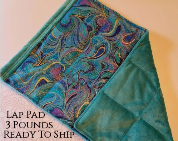 READY TO SHIP, Washable, Weighted Lap Pad/Small Blanket/Travel Weighted Blanket 3 pounds.  14.5x22
