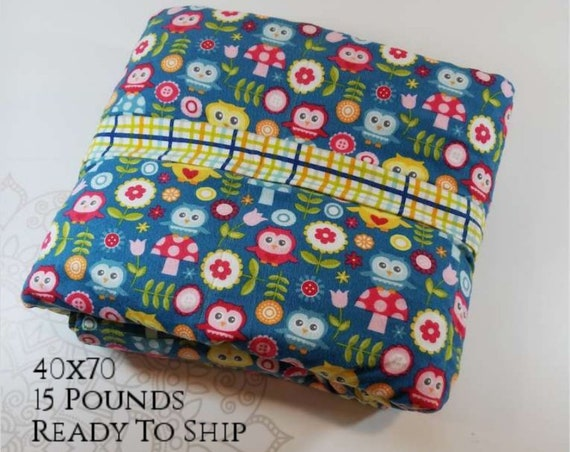 READY to SHIP, Weighted Blanket, 40x70-15 Pounds, Owl Cotton Flannel Front, Multi Color Gingham Backing, Sensory Blanket, Calming Blanket,