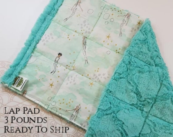 READY TO SHIP, Mermaid Cotton, Aruba Lattice Minky, Weighted, Lap Pad/Weighted Blanket, 3 pounds, 14x22, Small Weighted Blanket