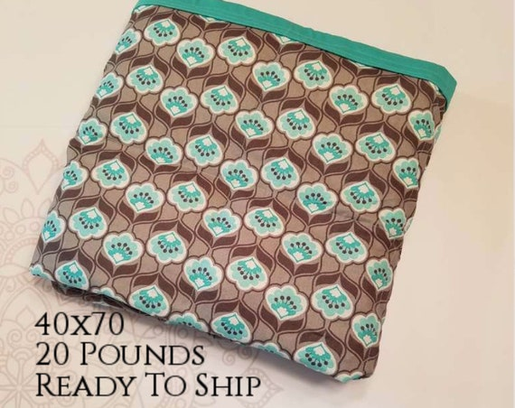READY to SHIP, Weighted Blanket, 40x70-20 Pounds, Gray Mint Flowers Cotton Front, Teal Woven Cotton Back, Sensory Blanket, Calming Blanket,