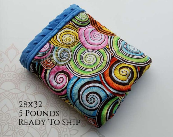 READY to SHIP, Weighted Blanket, 28x32-5 Pounds, Colorful Spiral Front, Blue Minky Back, Sensory Blanket, Calming Blanket