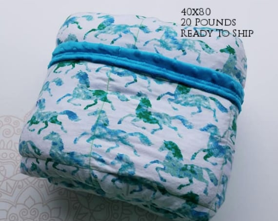 READY to SHIP, Weighted Blanket, 40x70-20 Pounds, Running Horses Cotton Flannel, Aqua Minky Back, Sensory Blanket, Calming Blanket,
