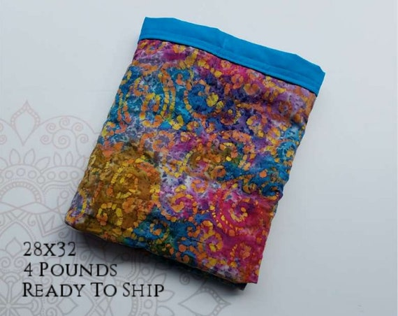 READY to SHIP, Weighted Blanket, 28x32-4 Pounds, Batik Scroll Front, Turquoise Back, Sensory Blanket, Calming Blanket,