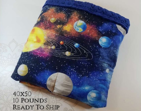 READY to SHIP, Weighted Blanket, 40x50-10 Pounds, Solar System Front, Navy Minky Back, Sensory Blanket, Calming Blanket,