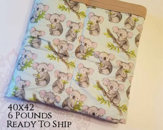 READY to SHIP, Weighted Blanket, 40x42-6 Pounds, Koala, Tan Cotton Flannel Back, Sensory Blanket, Calming Blanket,