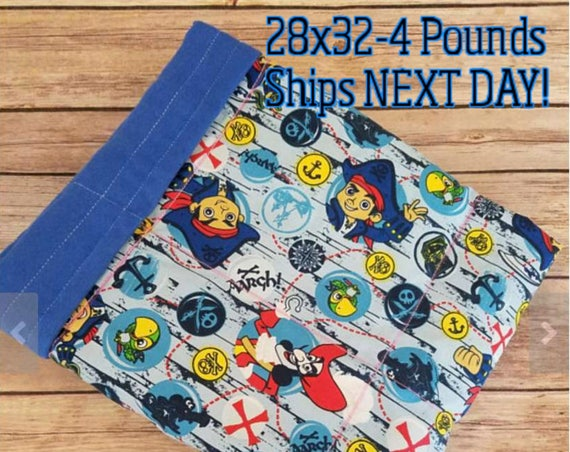 Pirate, 4 Pound, WEIGHTED BLANKET, 4 pounds, 28x32, for Autism, Sensory, ADHD, Calming, Anxiety,