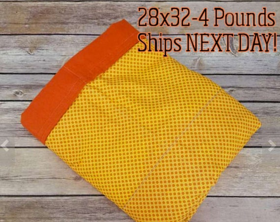 Orange Polka Dot, 4 Pounds, WEIGHTED BLANKET, 4 pounds, 28x32 for Autism, Sensory, ADHD, Calming, Anxiety,