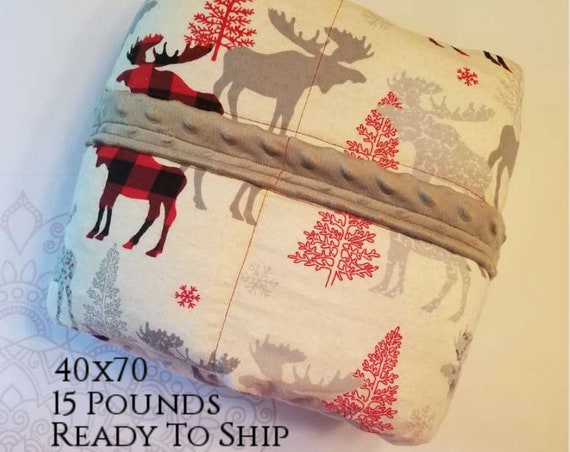 READY to SHIP, Weighted Blanket, 40x70-15 Pounds, Moose Plaid, Gray Minky Back, Sensory Blanket, Calming Blanket,