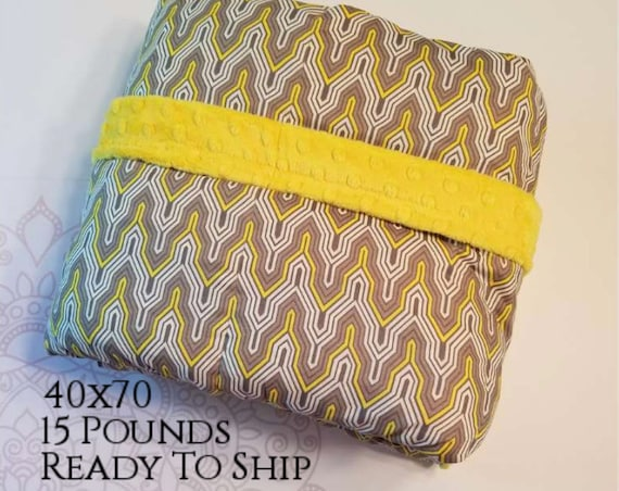 READY to SHIP, Weighted Blanket, 40x70-15 Pounds, Yellow Gray Geometric, Yellow Minky Back, Sensory Blanket, Calming Blanket,