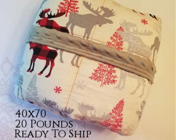 READY to SHIP, Weighted Blanket, 40x70-20 Pounds, Moose Plaid Flannel, Gray Minky Back, Sensory Blanket, Calming Blanket,