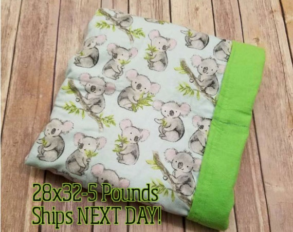 Koala, 5 pound, WEIGHTED BLANKET, Ready To Ship, 5 pounds, 28x32 for Autism, Sensory, ADHD, Calming, Anxiety,