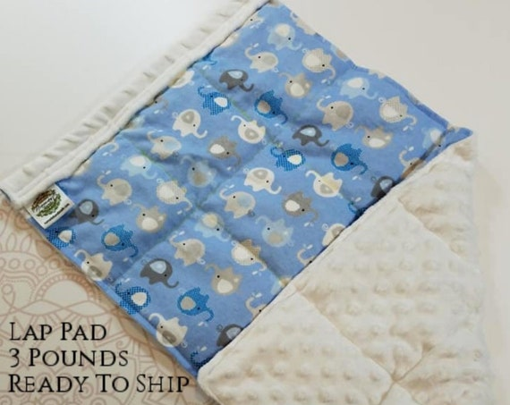 READY TO SHIP, Elephant, White Minky Back, Weighted, Lap Pad/Weighted Blanket, 3 pounds, 14x22, Small Weighted Blanket