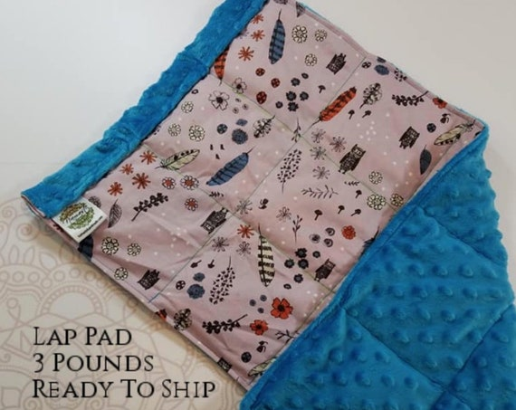 READY TO SHIP, Woodland Cotton Front, Aqua Minky Back, Weighted, Lap Pad/Weighted Blanket, 3 pounds, 14x22, Small Weighted Blanket