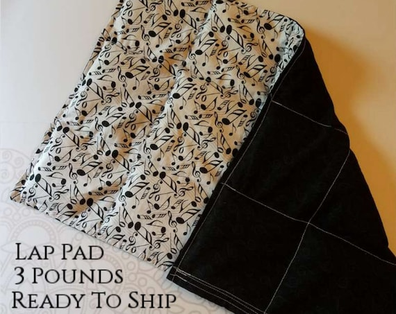 READY TO SHIP, Music, Weighted Lap Pad/Small Blanket/Travel Weighted Blanket 3 pounds.  14.5x22