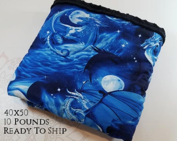 READY to SHIP, Weighted Blanket, 40x50-10 Pounds, Dragon Front, Black Minky Back, Sensory Blanket, Calming Blanket,