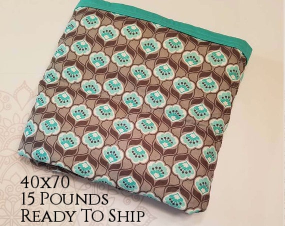 READY to SHIP, Weighted Blanket, 40x70-15 Pounds, Gray Mint Flowers Cotton Front, Teal Woven Cotton Back, Sensory Blanket, Calming Blanket,