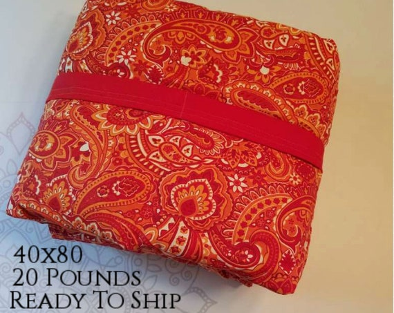 READY to SHIP, Weighted Blanket, 40x80-20 Pounds, Red Paisley, Red Woven Cotton Back, Sensory Blanket, Calming Blanket,