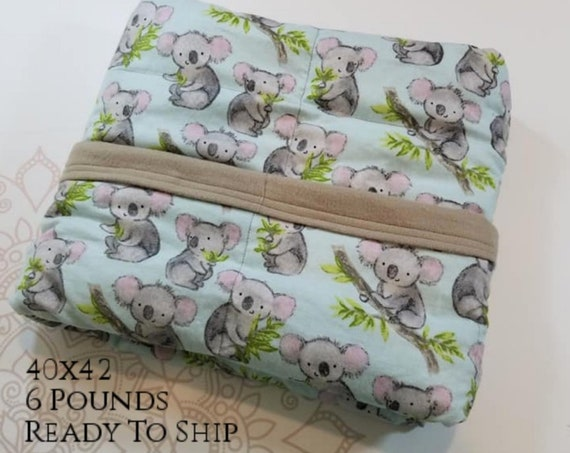 READY to SHIP, Weighted Blanket, 40x42-6 Pounds, Koala Game, Gray Cotton Flannel Back, Sensory Blanket, Calming Blanket,