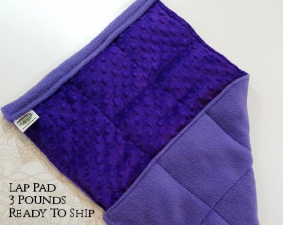 READY TO SHIP, Purple Fleece, Purple Minky Back, Weighted, Lap Pad/Weighted Blanket, 3 pounds, 14x22, Small Weighted Blanket