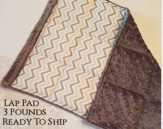 READY TO SHIP, Gray Chevron, Weighted, Lap Pad/Small Blanket/Travel Weighted Blanket, 3 pounds,  14.5x22, Autism, Small Weighted Blanket